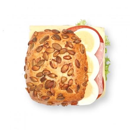 Kürbiskernbrötchen Schinken Käse